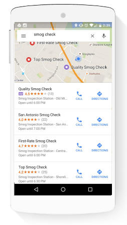 Google Search Directions Maps on