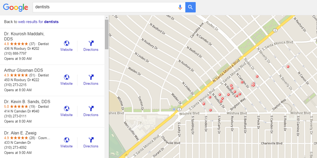 Google Maps marketing dentists Beverly Hills