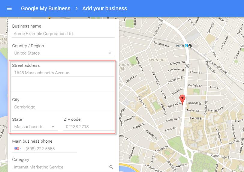Google Maps marketing Google My Business address setup