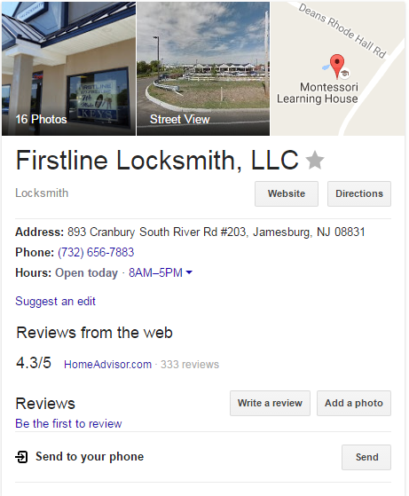 google my business account firstline locksmith