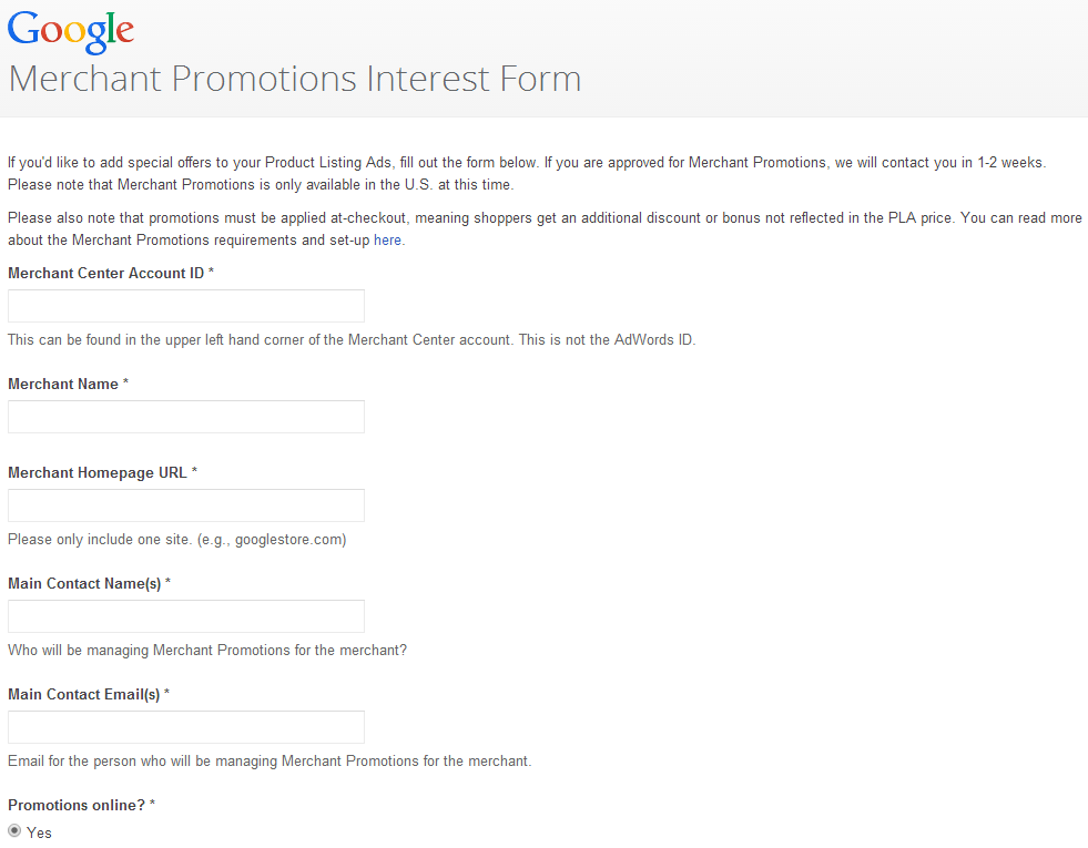 sign up for merchant promotions