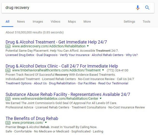 Google Ads Rehab Searches