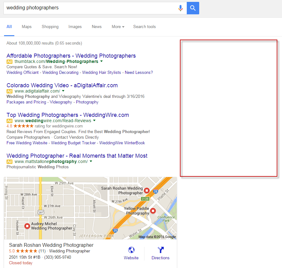 no google adwords ads on right rail