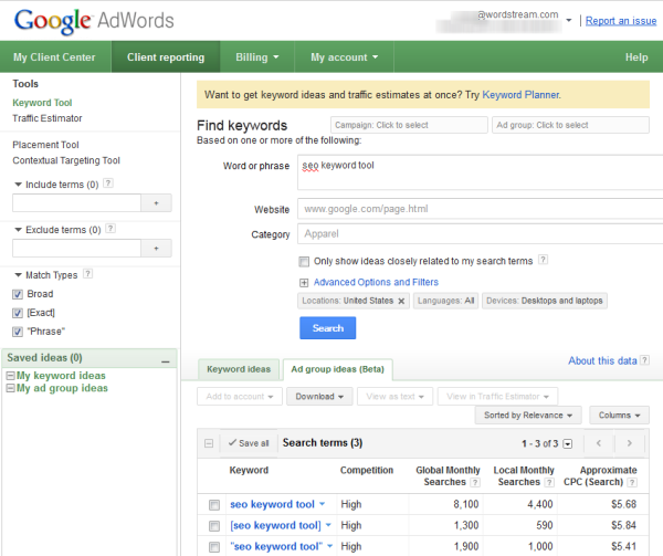 Google's SEO Keyword Tool