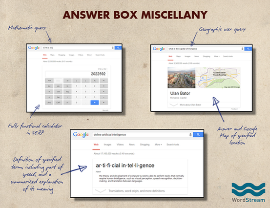 Google search page more answer box examples
