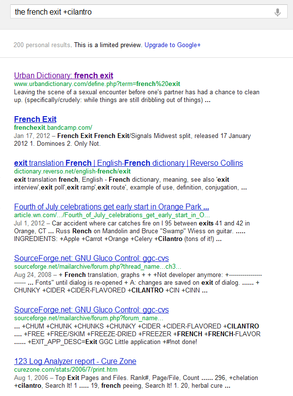 Google + Search Operator
