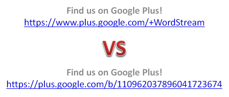 google plus vanity url comparison