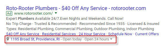 Google Voice Search AdWords location extension example