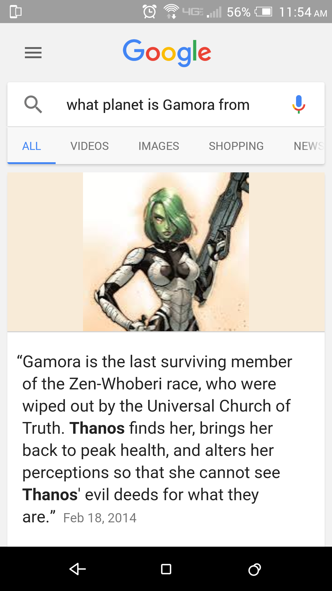Google Voice Search Gamora Guardians of the Galaxy character bio