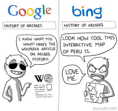 Google Voice Search Google vs Bing Owlturd Comix