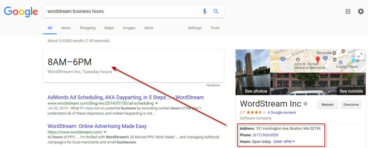 Google Voice Search WordStream business hours knowledge graph