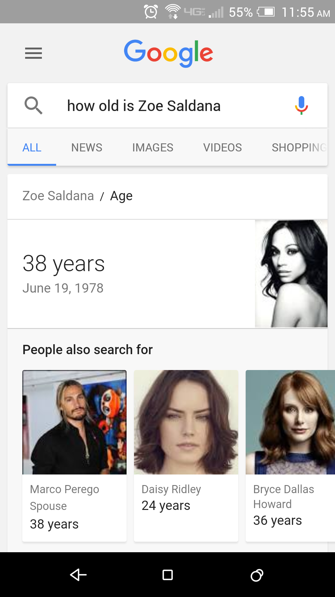 Google Voice Search Zoe Saldana age query