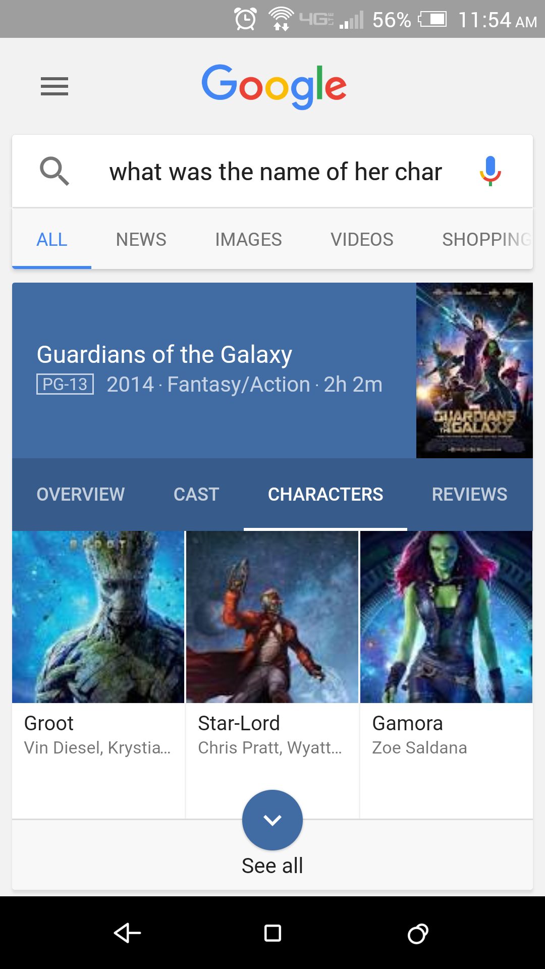 Google Voice Search Zoe Saldana's character in Guardians of the Galaxy