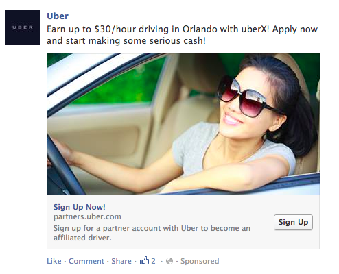 Google AdWords vs Facebook Ads Facebook Uber ad example