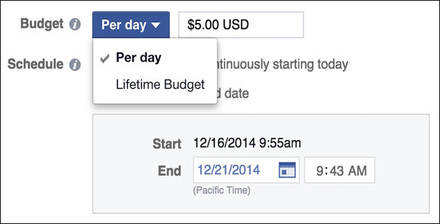 Google AdWords vs Facebook Ads Facebook ad budget example