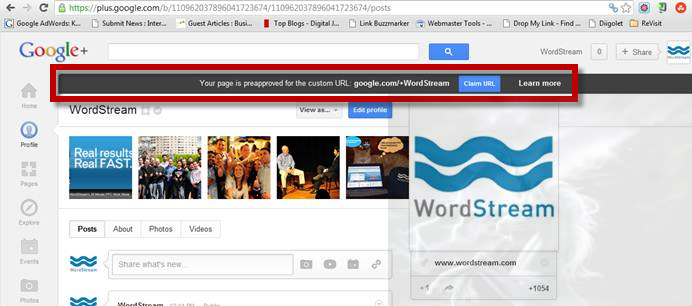 Google Plus custom url claim process