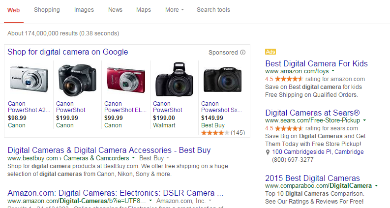 Example of how the Google shopping results typically look