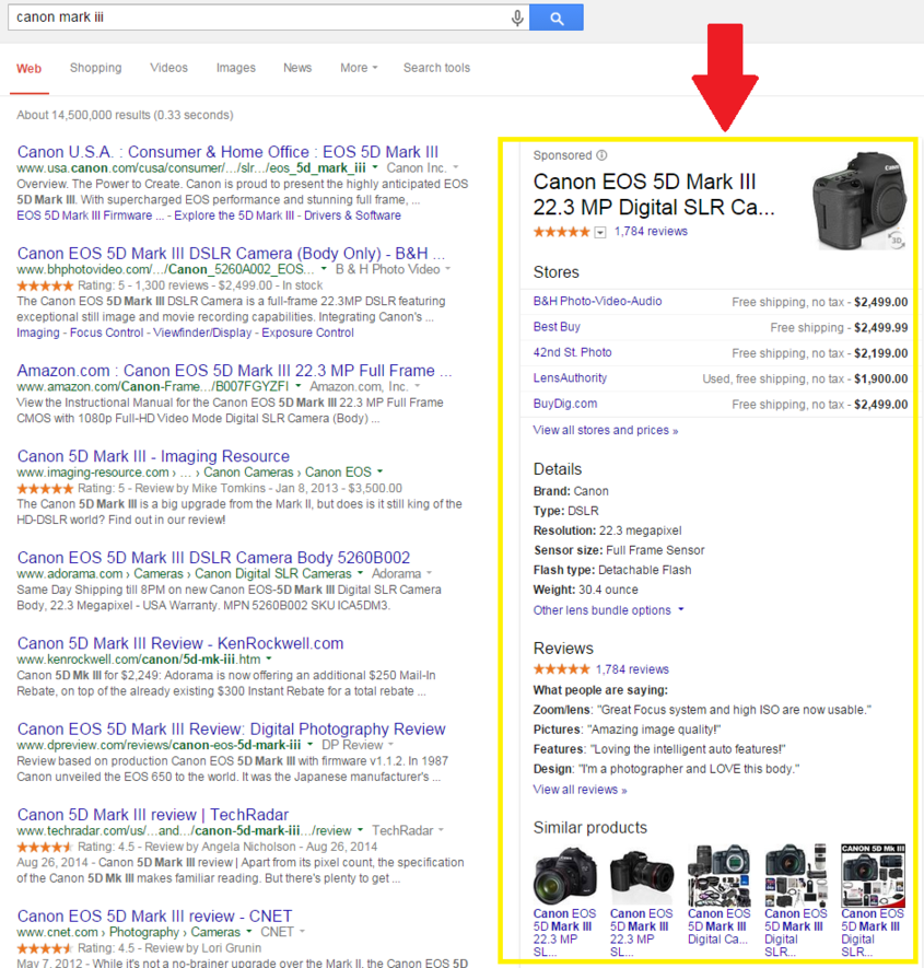 Google's largest shopping ad example on the SERPs