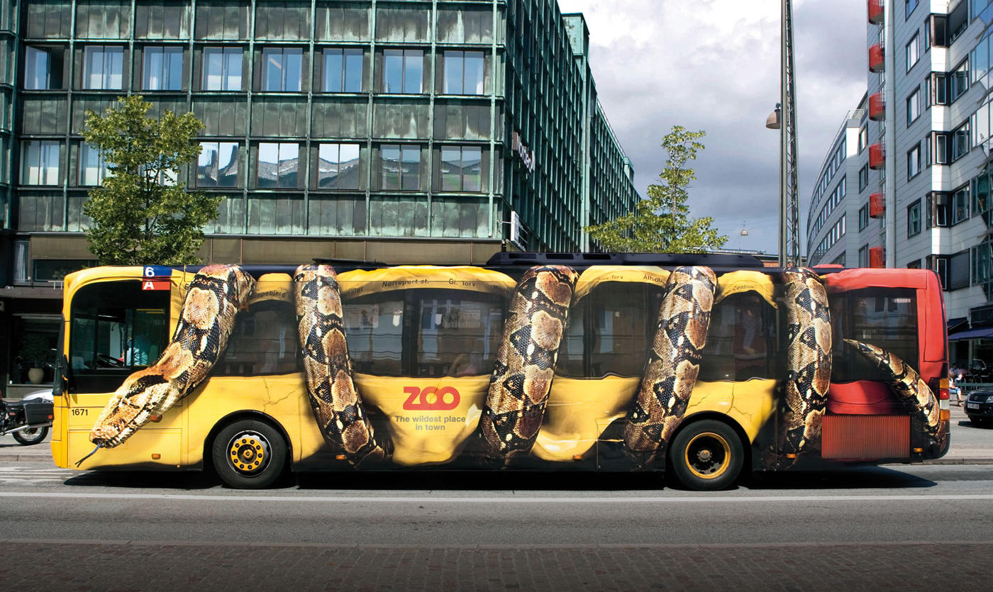 Grassroots marketing Copenhagen Zoo snake bus ambient ad