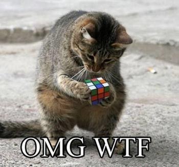 8 Reasons I Hate LinkedIn Ads cat with a Rubik's cube