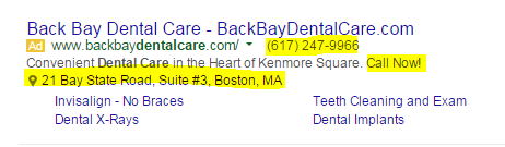 healthcare marketing advertisement showing ad extensions