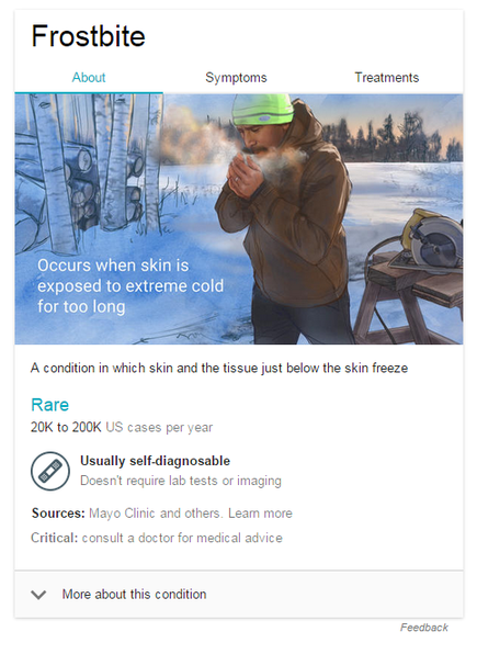 healthcare marketing screenshot of a knowledge graph for frostbite