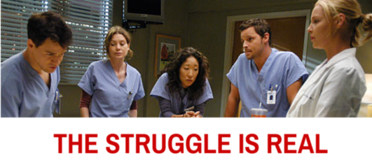 healthcare marketing image of greys anatomy cast looking concerned