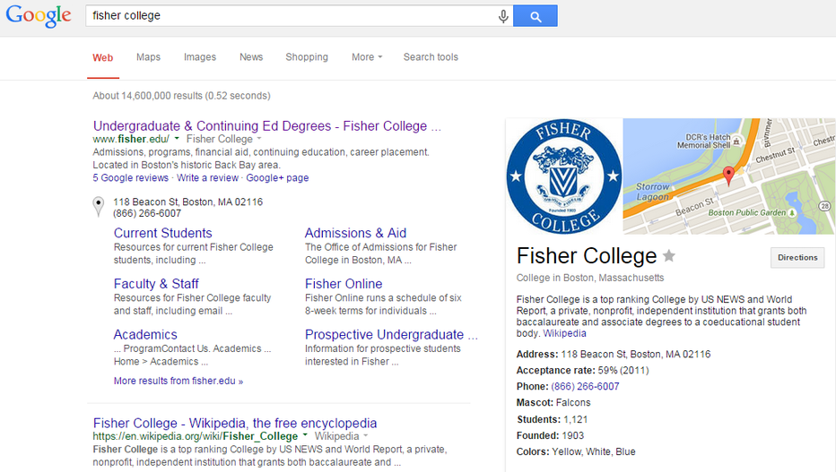 Higher education marketing SERPs for a search for Fisher College