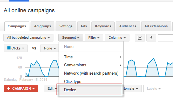 Higher education marketing screenshot showing how to segment by device