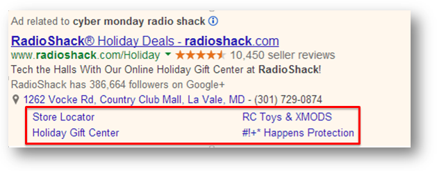 Holiday Sitelinks
