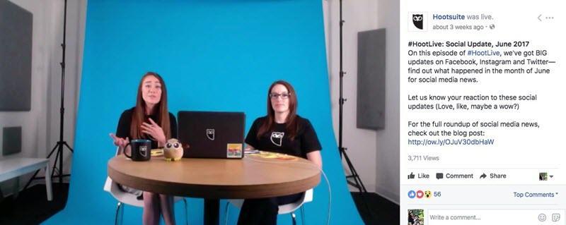 hootsuite facebook live video