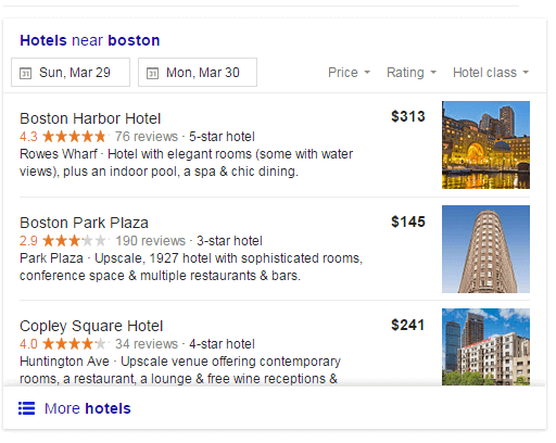 Hotel Ads Google screenshot of showing how hotel ads display in the SERPs
