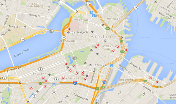 Hotel Ads screenshot showing Google Maps identifying hotels in the Boston area