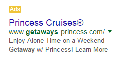 Hotel marketing Princess Cruise ad