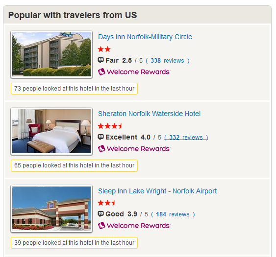Hotels.com internal linking