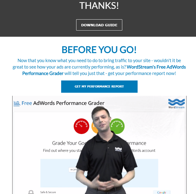 How to build video culture at your company WordStream landing page video example