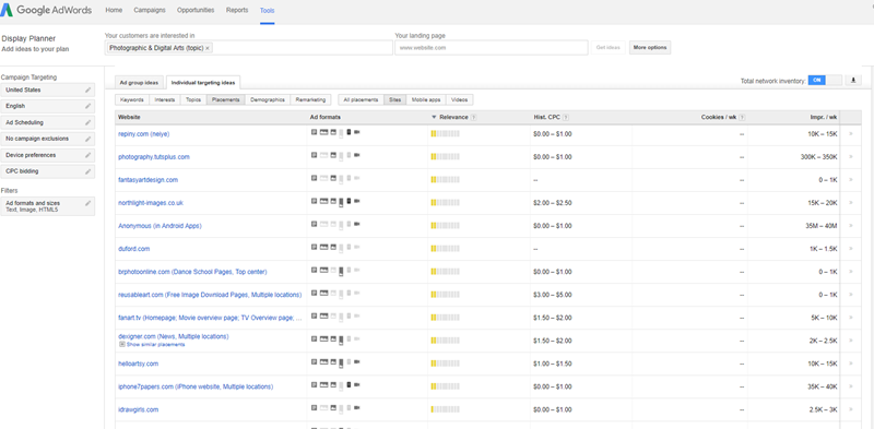 using managed placements on the google display network