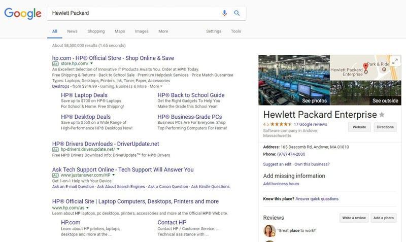 hp brand search on desktop