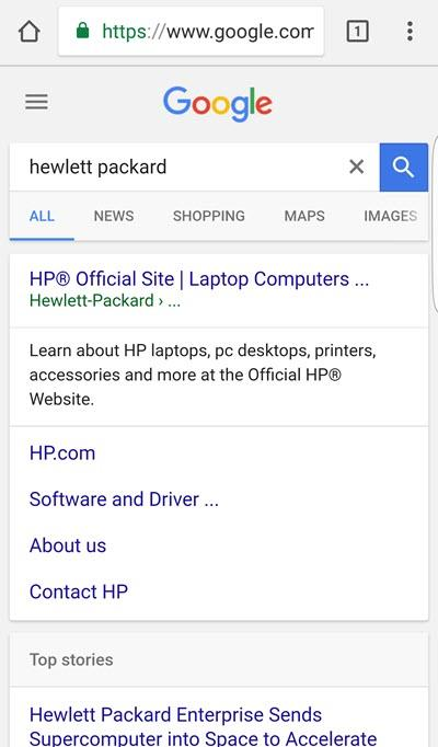 hp brand query serp on mobile device