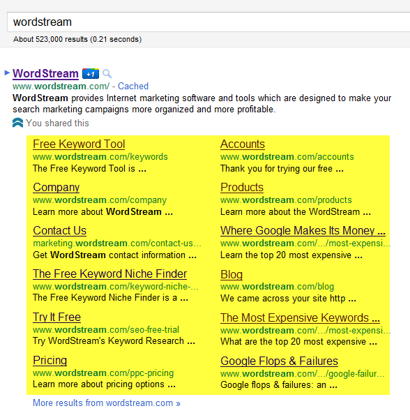 Wow what a Huge Google Sitelink!