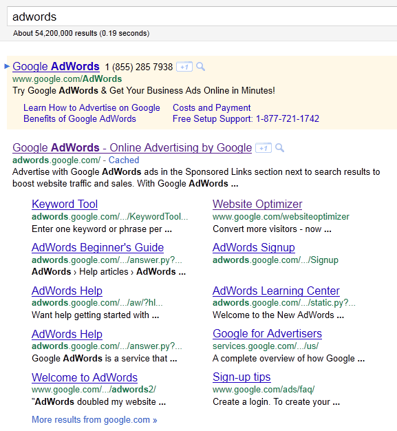 Huge Google Sitelink  Plus ad Taking up the entire SERP
