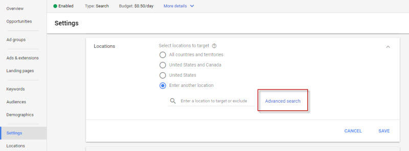 Hyperlocal marketing AdWords geolocation settings radius targeting
