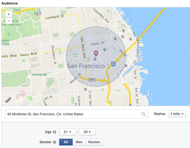 Hyperlocal marketing Facebook Location Awareness ad example