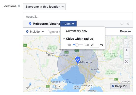 Hyperlocal marketing Facebook radius targeting