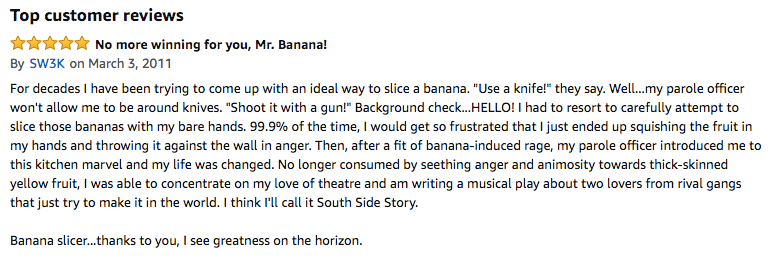 Hyperlocal marketing funny customer amazon review example
