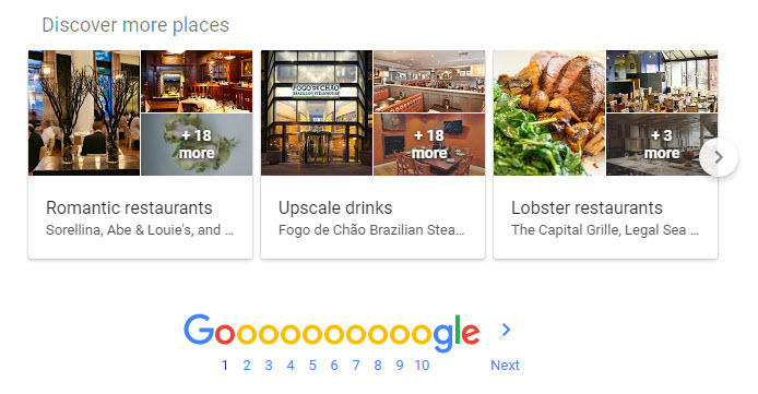 Hyperlocal marketing Google SERP Discover more places