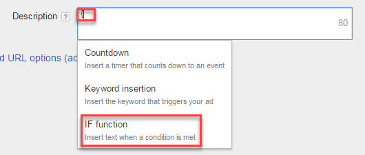 adwords if function text ad creation with brace