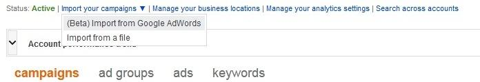 Import from Google AdWords