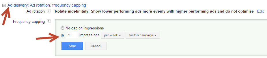 AdWords Remarketing Impression Capping