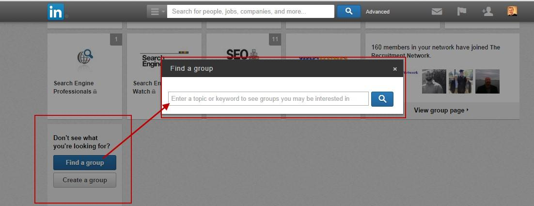 Improve your linkedin profile find a group